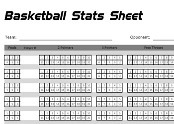 Printable Basketball Stats Sheet